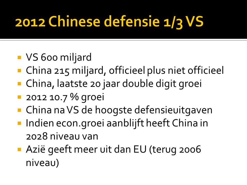 2012 Chinese defensie 1/3 VS VS 600 miljard
