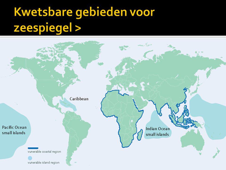 Kwetsbare gebieden voor zeespiegel >