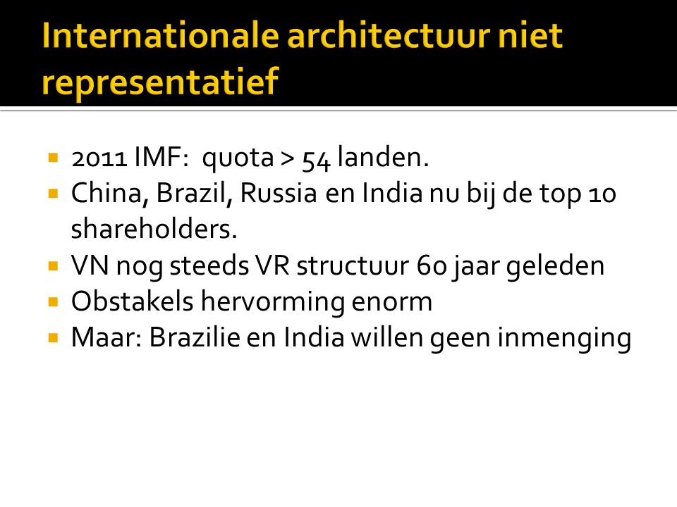 Internationale architectuur niet representatief