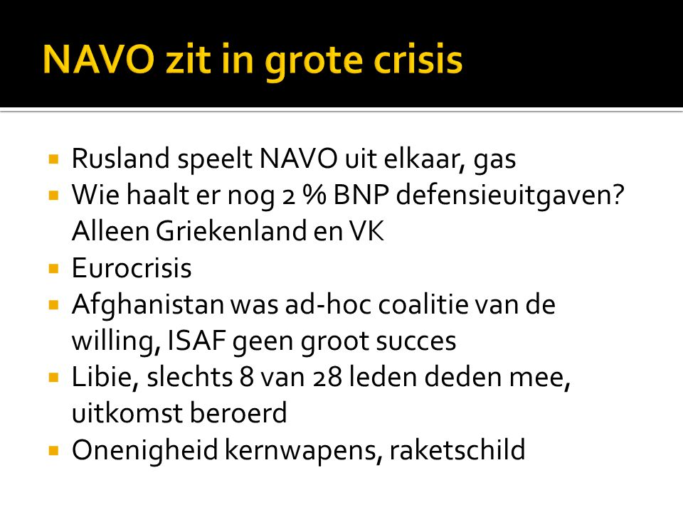 NAVO zit in grote crisis
