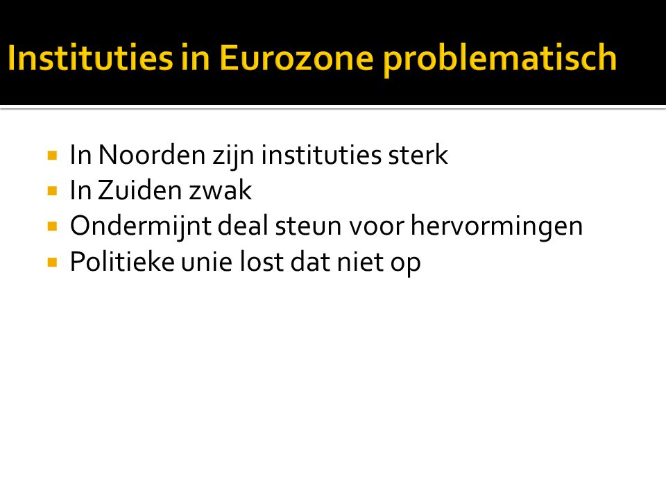 Instituties in Eurozone problematisch