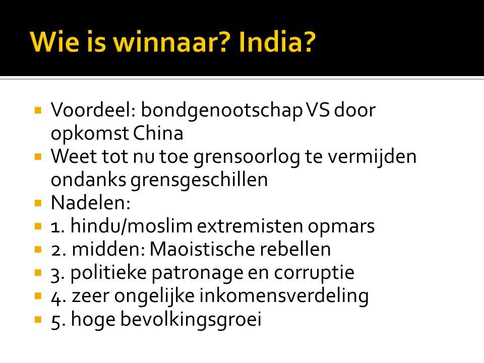 Wie is winnaar India Voordeel: bondgenootschap VS door opkomst China
