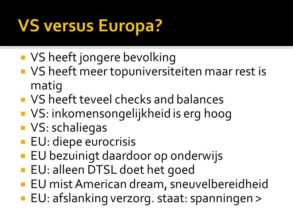 VS versus Europa VS heeft jongere bevolking