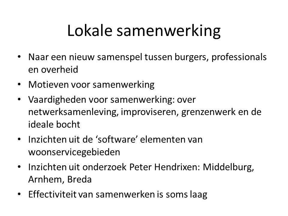 Lokale samenwerking Naar een nieuw samenspel tussen burgers, professionals en overheid. Motieven voor samenwerking.
