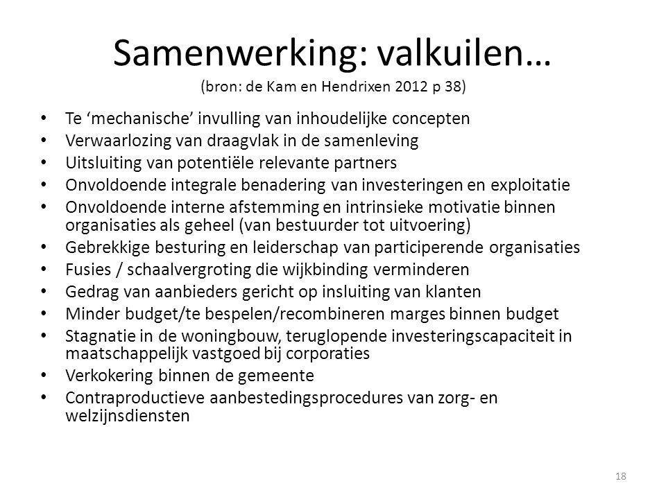 Samenwerking: valkuilen… (bron: de Kam en Hendrixen 2012 p 38)