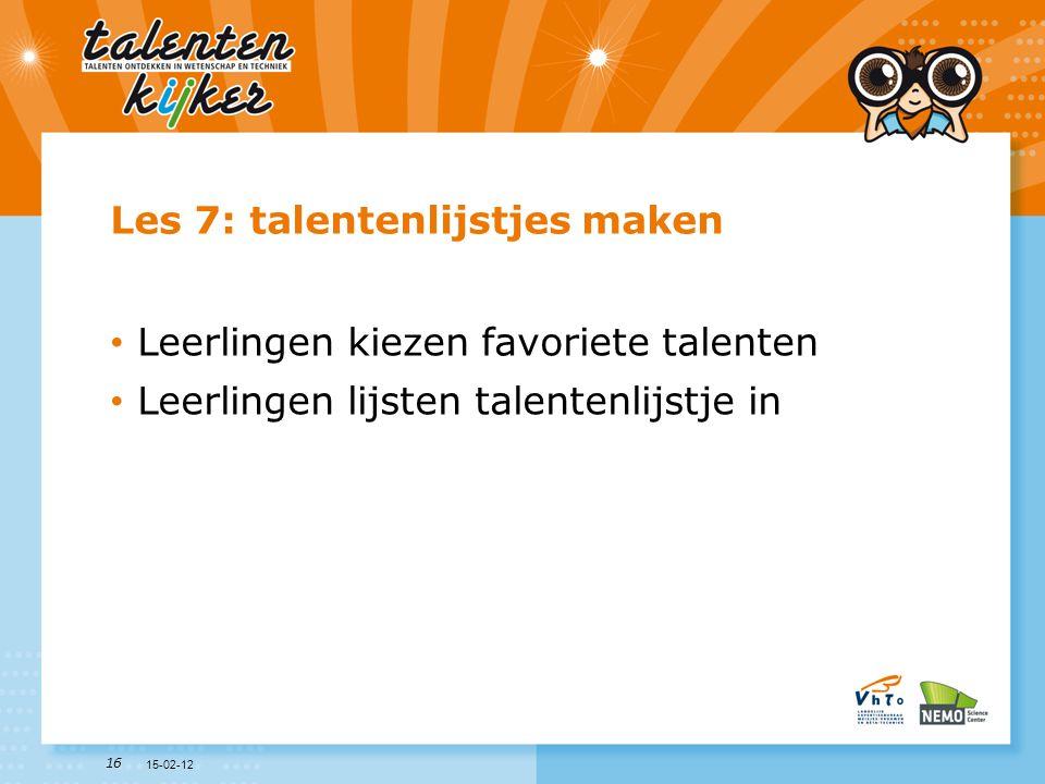 Les 7: talentenlijstjes maken