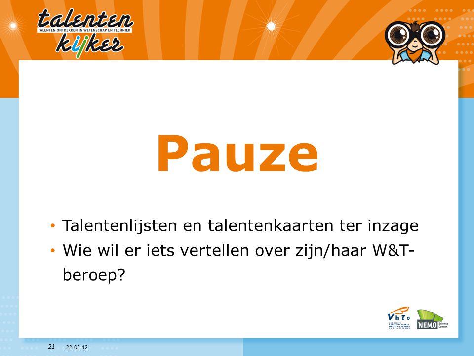 Pauze Talentenlijsten en talentenkaarten ter inzage
