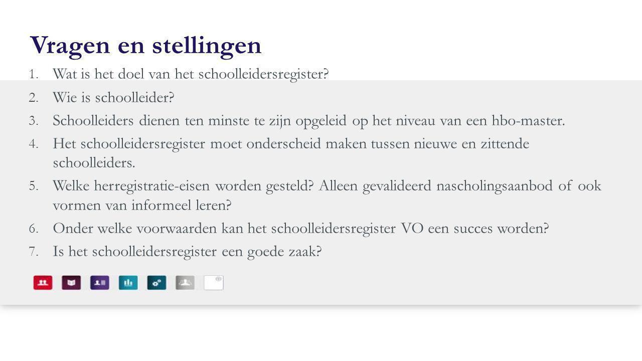 Vragen en stellingen Wat is het doel van het schoolleidersregister