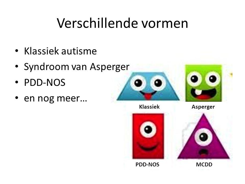 Verschillende vormen Klassiek autisme Syndroom van Asperger PDD-NOS