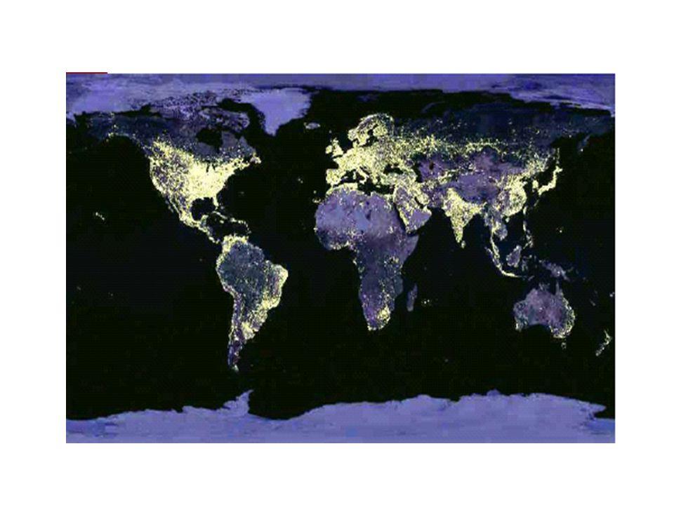 Dit is een samengestelde foto, die vanuit de ruimte is gemaakt en die laat zien welke delen van de wereld 's nachts zijn verlicht.