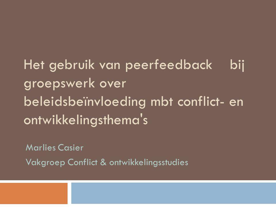 Marlies Casier Vakgroep Conflict & ontwikkelingsstudies
