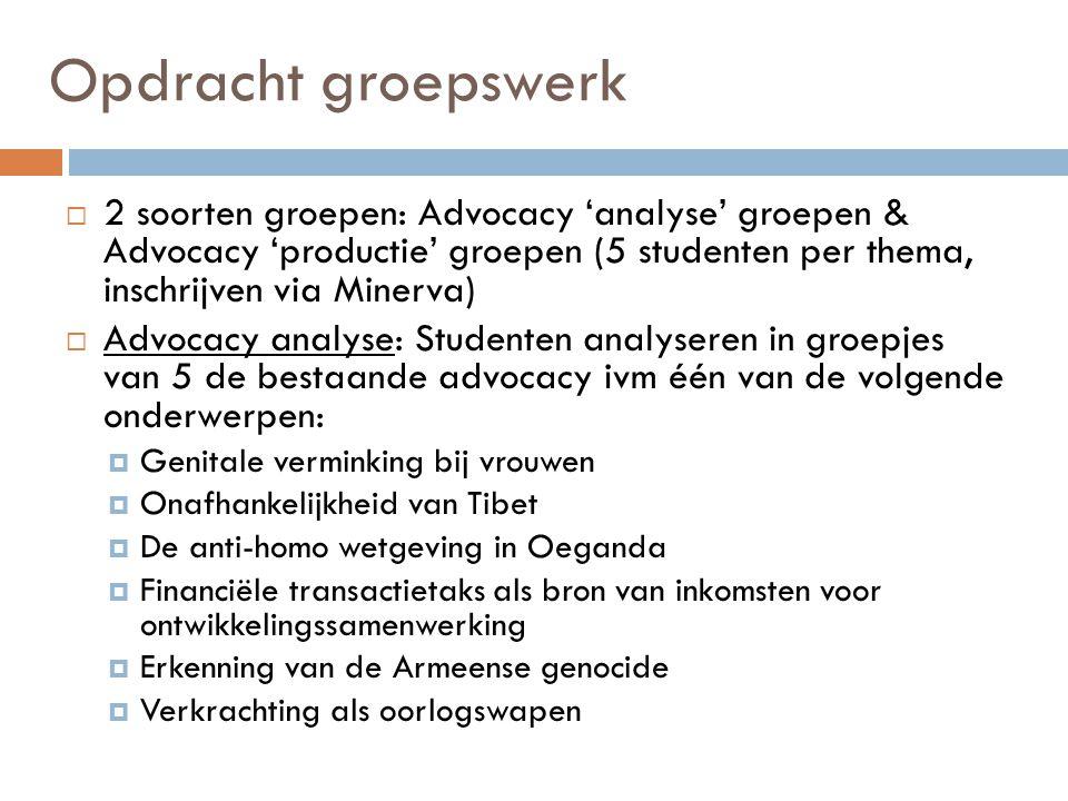 Opdracht groepswerk 2 soorten groepen: Advocacy 'analyse' groepen & Advocacy 'productie' groepen (5 studenten per thema, inschrijven via Minerva)