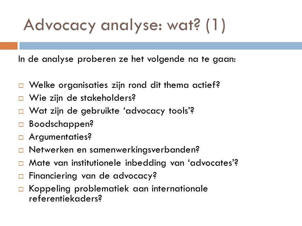 Advocacy analyse: wat (1)