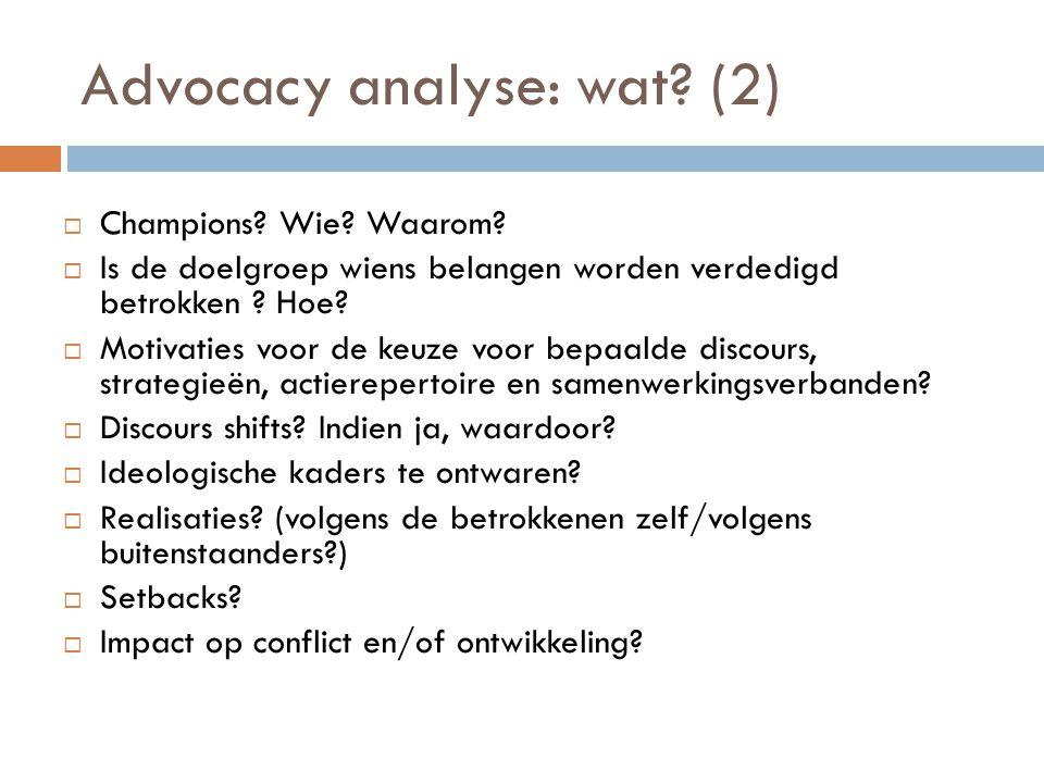 Advocacy analyse: wat (2)