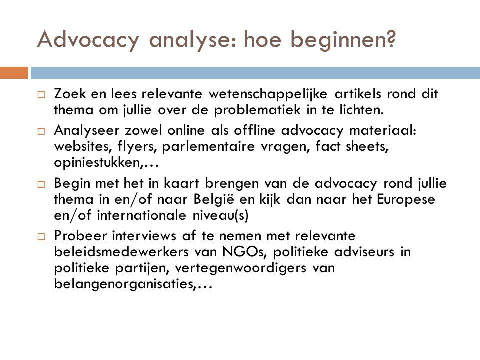 Advocacy analyse: hoe beginnen