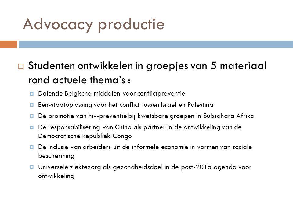 Advocacy productie Studenten ontwikkelen in groepjes van 5 materiaal rond actuele thema's : Dalende Belgische middelen voor conflictpreventie.