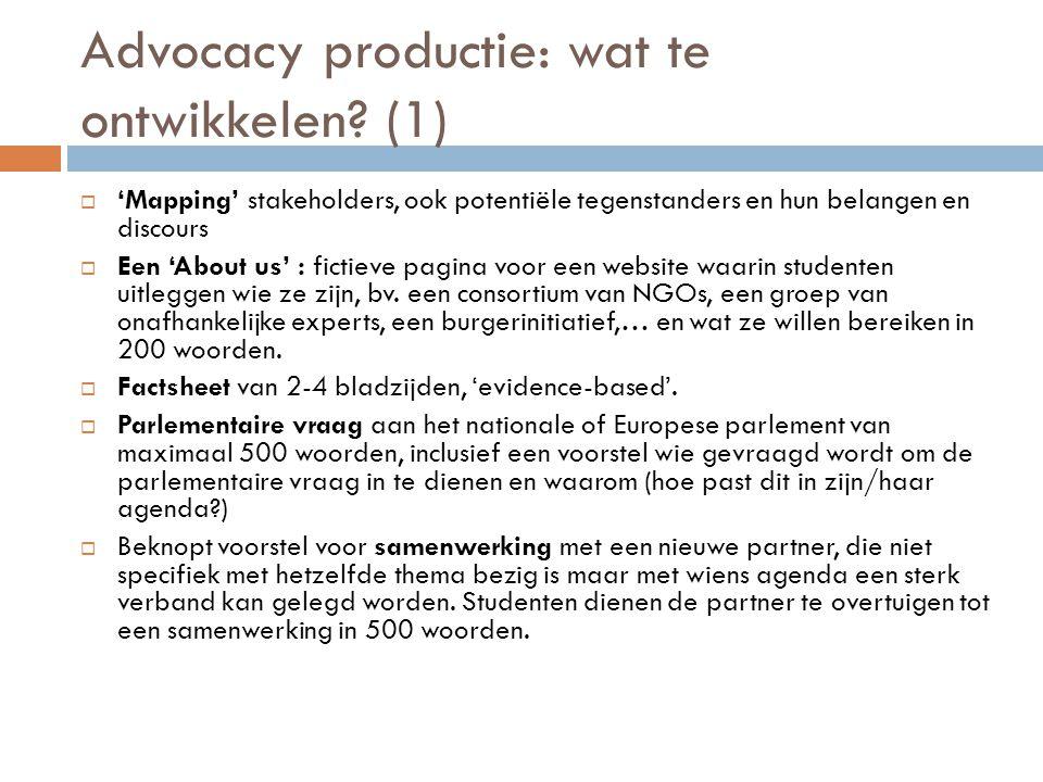 Advocacy productie: wat te ontwikkelen (1)