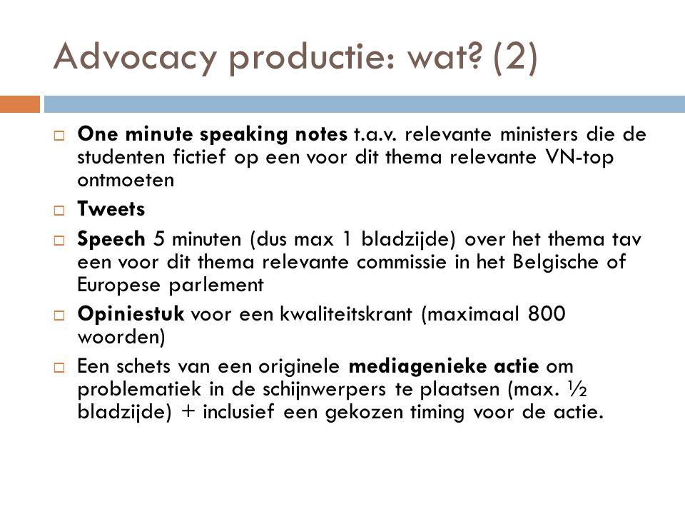 Advocacy productie: wat (2)