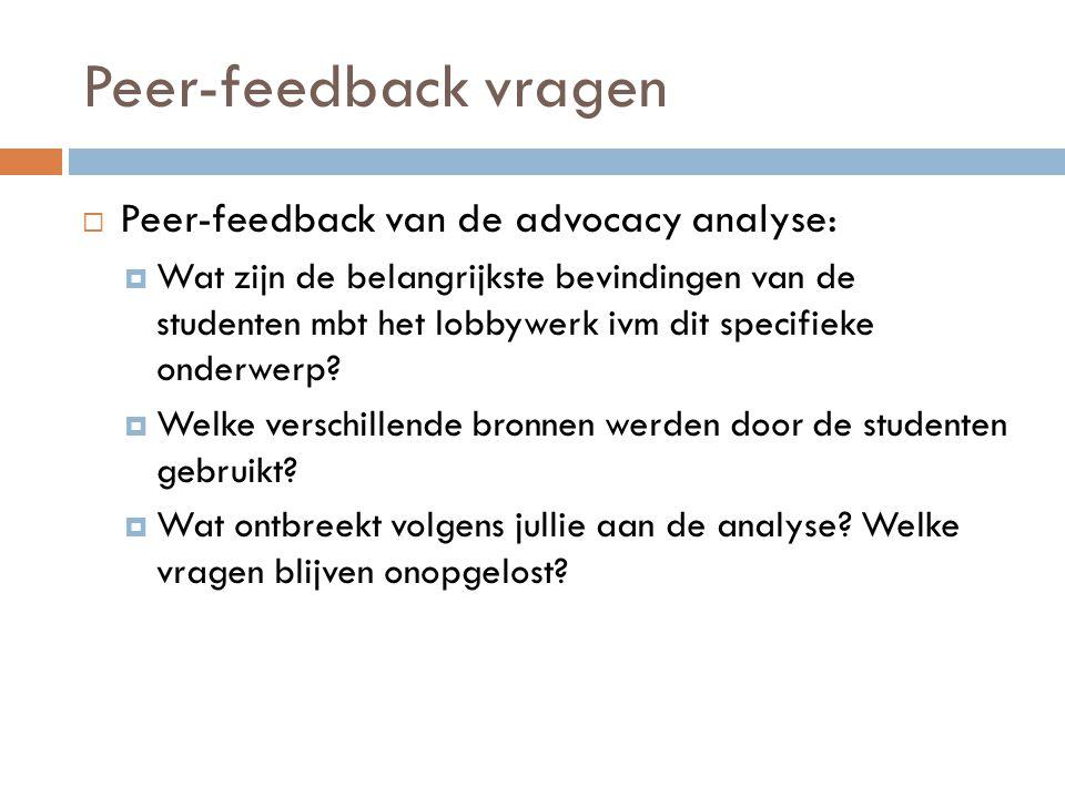 Peer-feedback vragen Peer-feedback van de advocacy analyse: