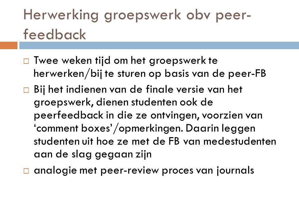 Herwerking groepswerk obv peer-feedback