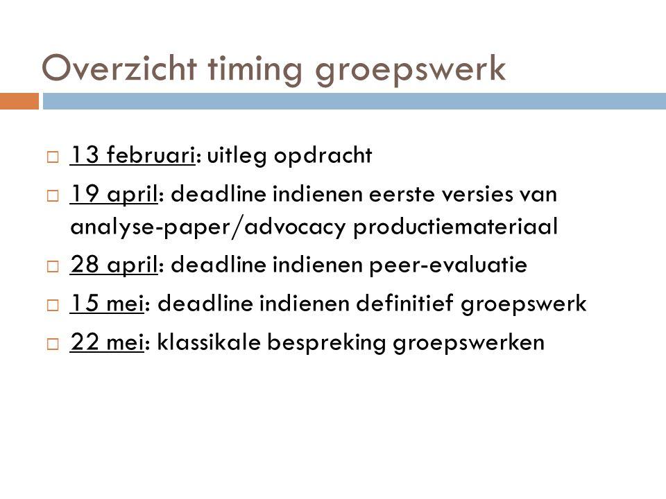 Overzicht timing groepswerk