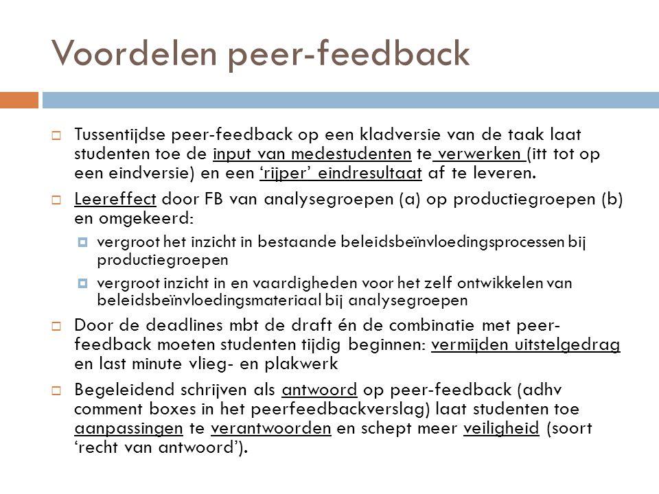 Voordelen peer-feedback