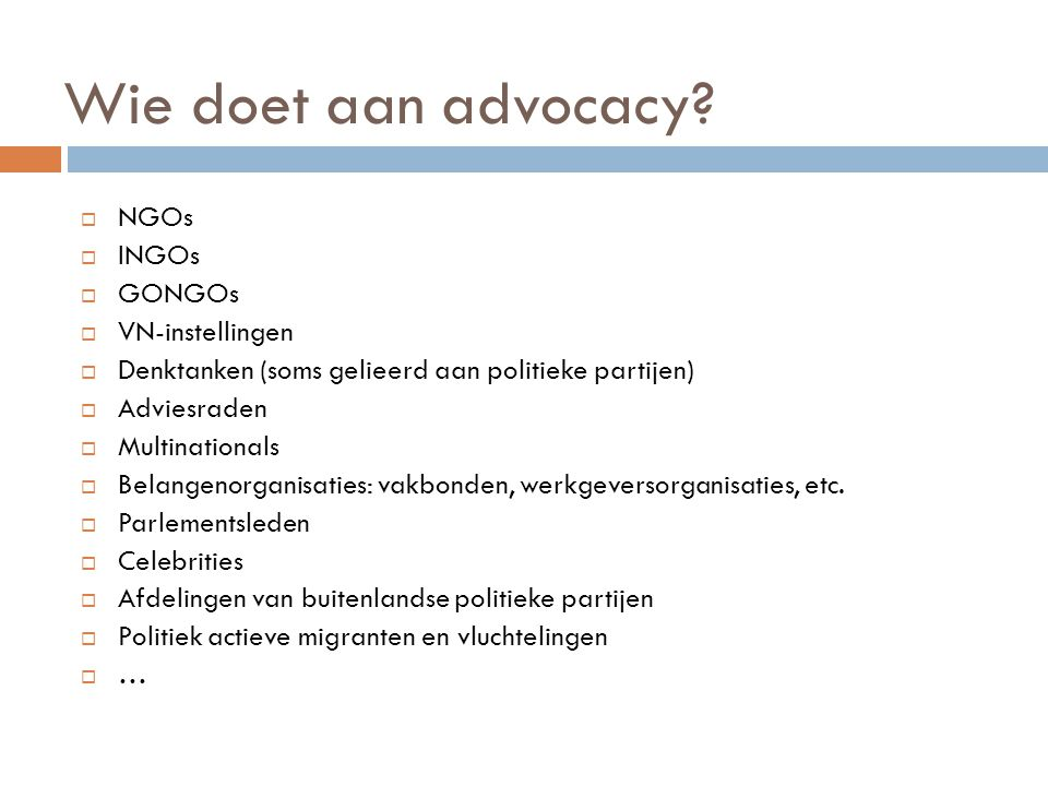 Wie doet aan advocacy NGOs INGOs GONGOs VN-instellingen