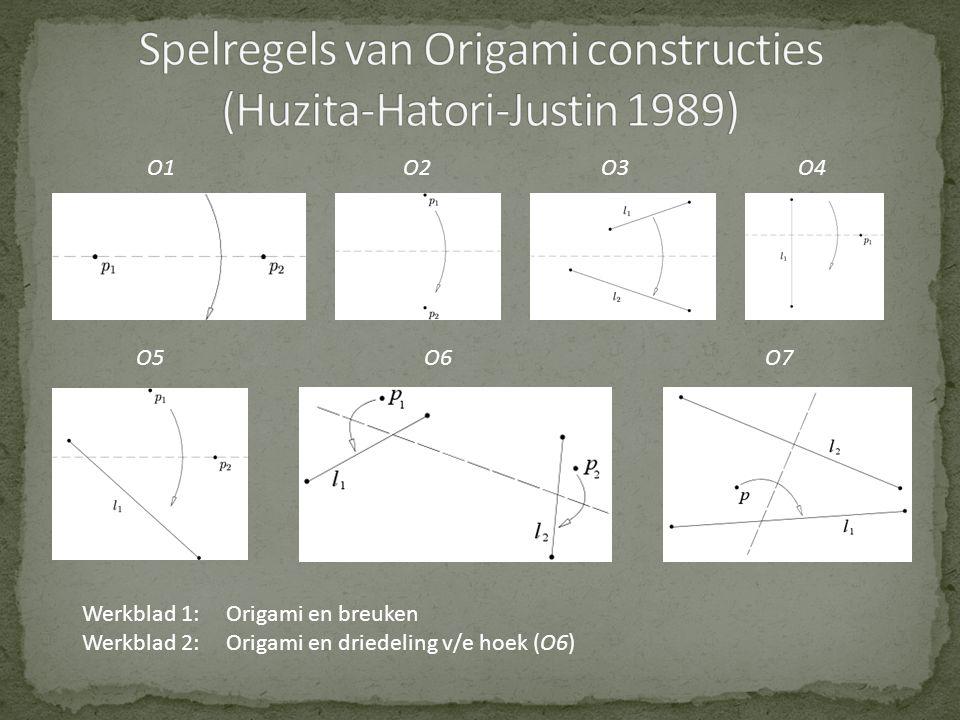 Spelregels van Origami constructies (Huzita-Hatori-Justin 1989)