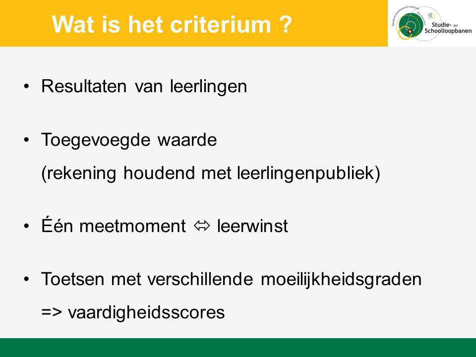 Wat is het criterium Resultaten van leerlingen