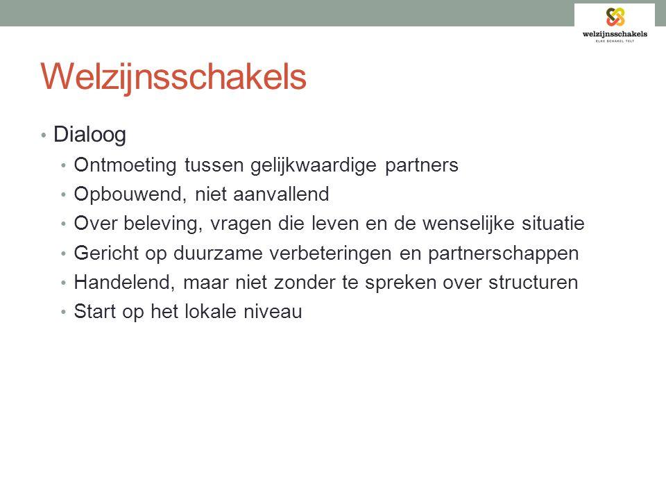 Welzijnsschakels Dialoog Ontmoeting tussen gelijkwaardige partners
