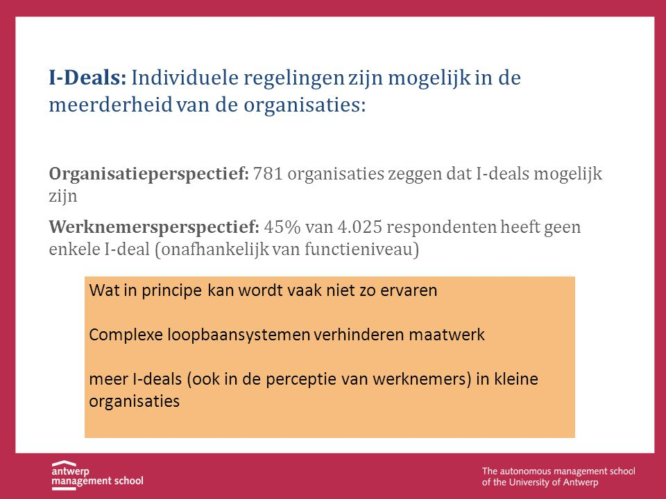 I-Deals: Individuele regelingen zijn mogelijk in de meerderheid van de organisaties: