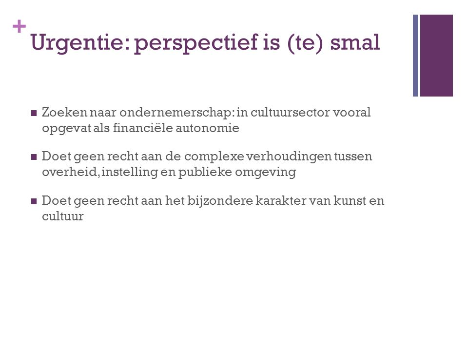 Urgentie: perspectief is (te) smal