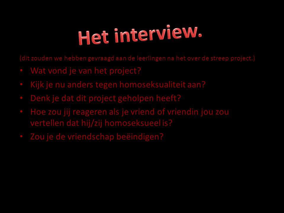 Het interview. Wat vond je van het project