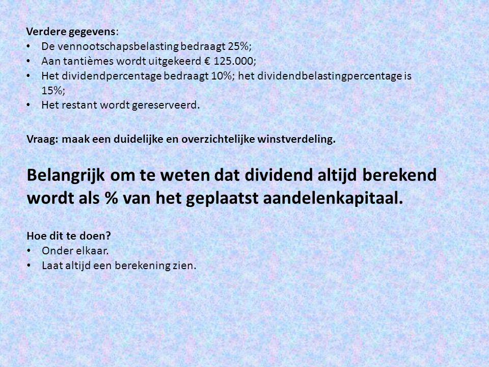 Verdere gegevens: De vennootschapsbelasting bedraagt 25%; Aan tantièmes wordt uitgekeerd € 125.000;