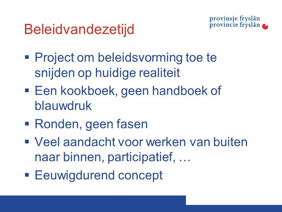 Beleidvandezetijd Project om beleidsvorming toe te snijden op huidige realiteit. Een kookboek, geen handboek of blauwdruk.