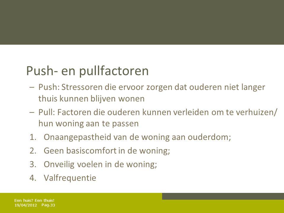 Push- en pullfactoren Push: Stressoren die ervoor zorgen dat ouderen niet langer thuis kunnen blijven wonen.