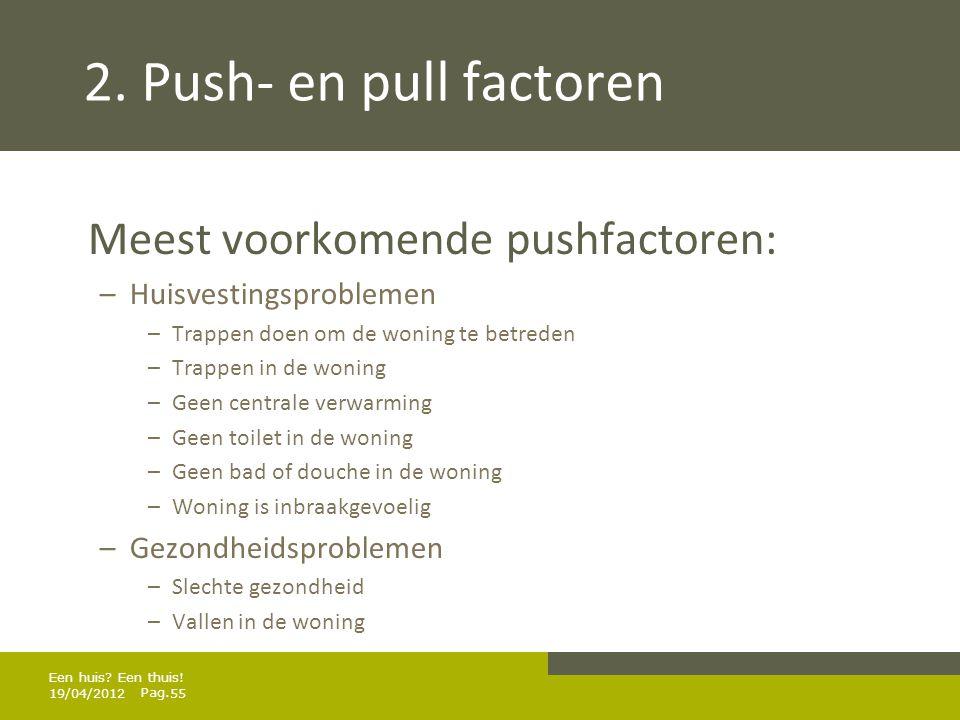 2. Push- en pull factoren Meest voorkomende pushfactoren:
