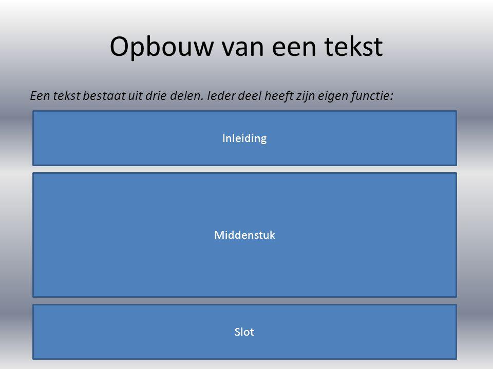 Opbouw van een tekst Een tekst bestaat uit drie delen. Ieder deel heeft zijn eigen functie: Inleiding.