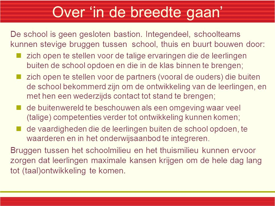 Over 'in de breedte gaan'