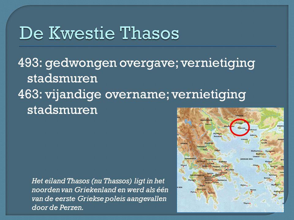 De Kwestie Thasos 493: gedwongen overgave; vernietiging stadsmuren 463: vijandige overname; vernietiging stadsmuren