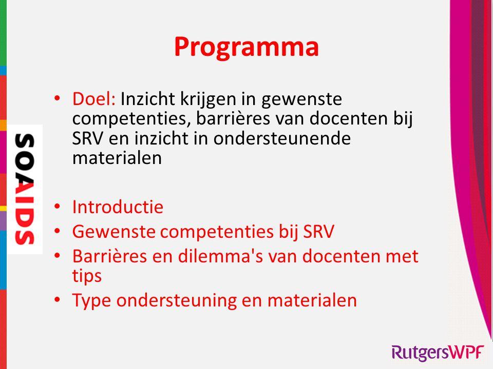 Programma Doel: Inzicht krijgen in gewenste competenties, barrières van docenten bij SRV en inzicht in ondersteunende materialen.