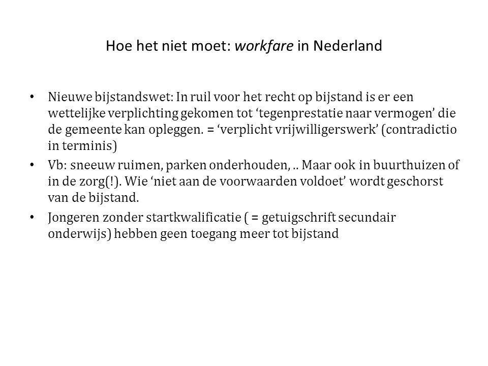 Hoe het niet moet: workfare in Nederland