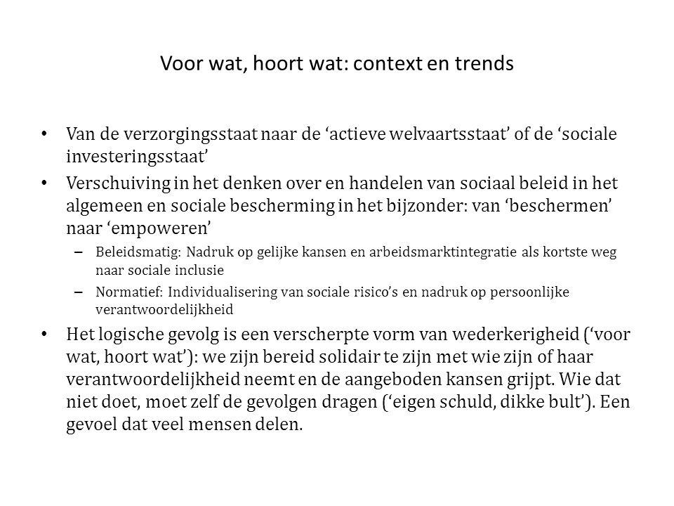 Voor wat, hoort wat: context en trends