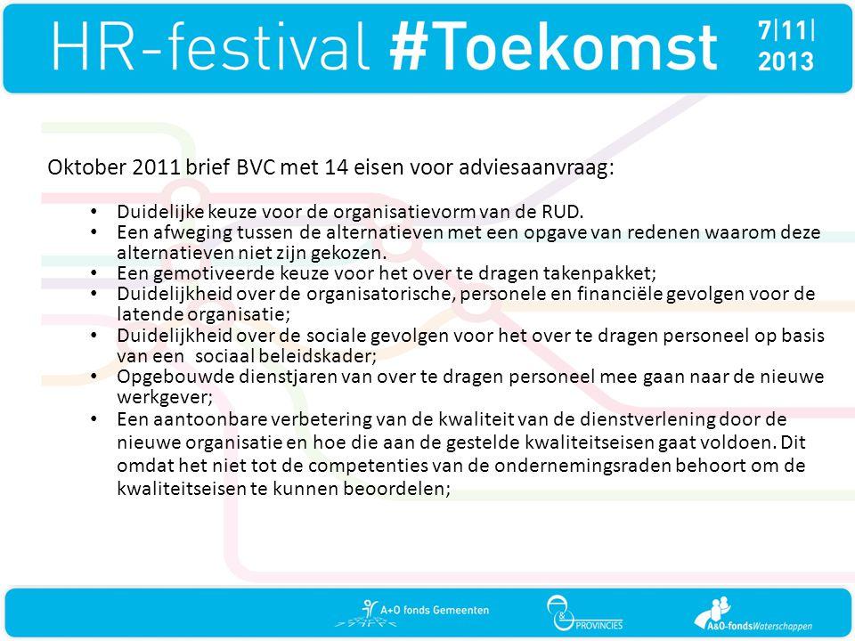 Oktober 2011 brief BVC met 14 eisen voor adviesaanvraag:
