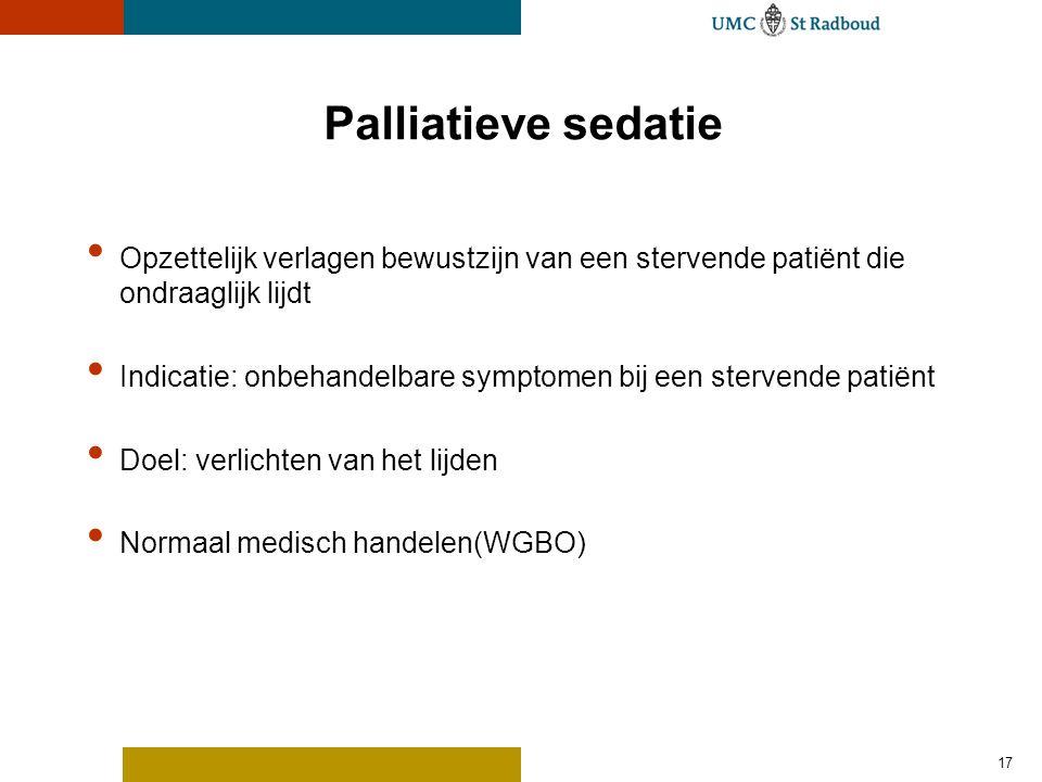 Palliatieve sedatie Opzettelijk verlagen bewustzijn van een stervende patiënt die ondraaglijk lijdt.