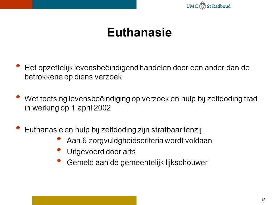 Euthanasie Het opzettelijk levensbeëindigend handelen door een ander dan de betrokkene op diens verzoek.