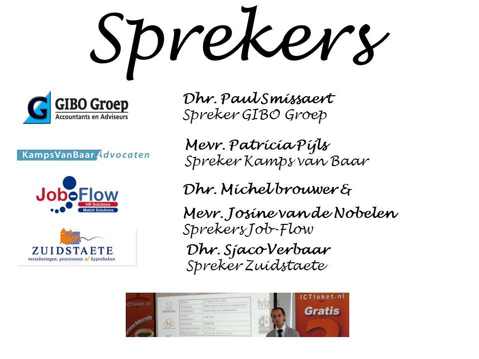 Sprekers Dhr. Paul Smissaert Spreker GIBO Groep