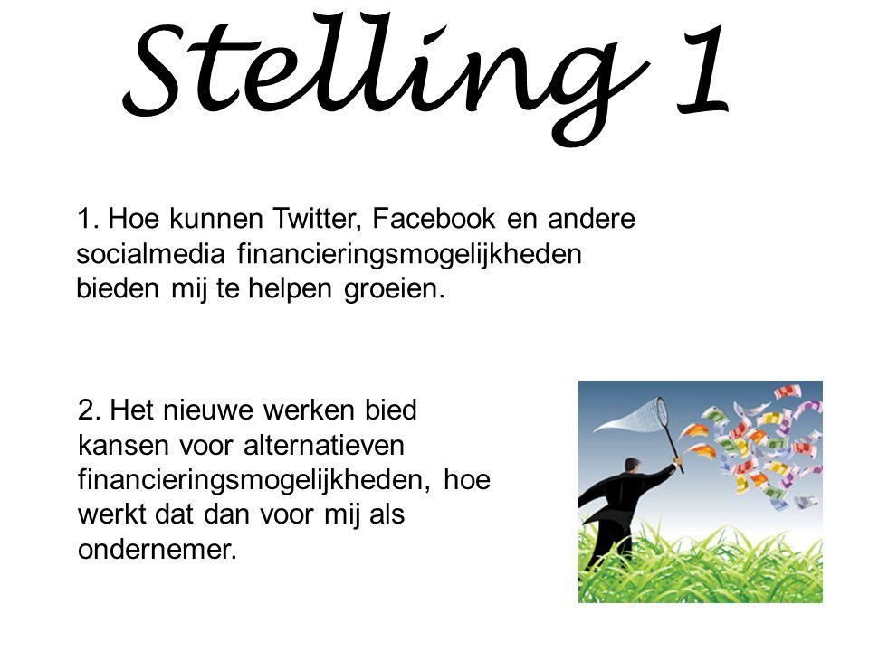 Stelling 1 1. Hoe kunnen Twitter, Facebook en andere socialmedia financieringsmogelijkheden bieden mij te helpen groeien.