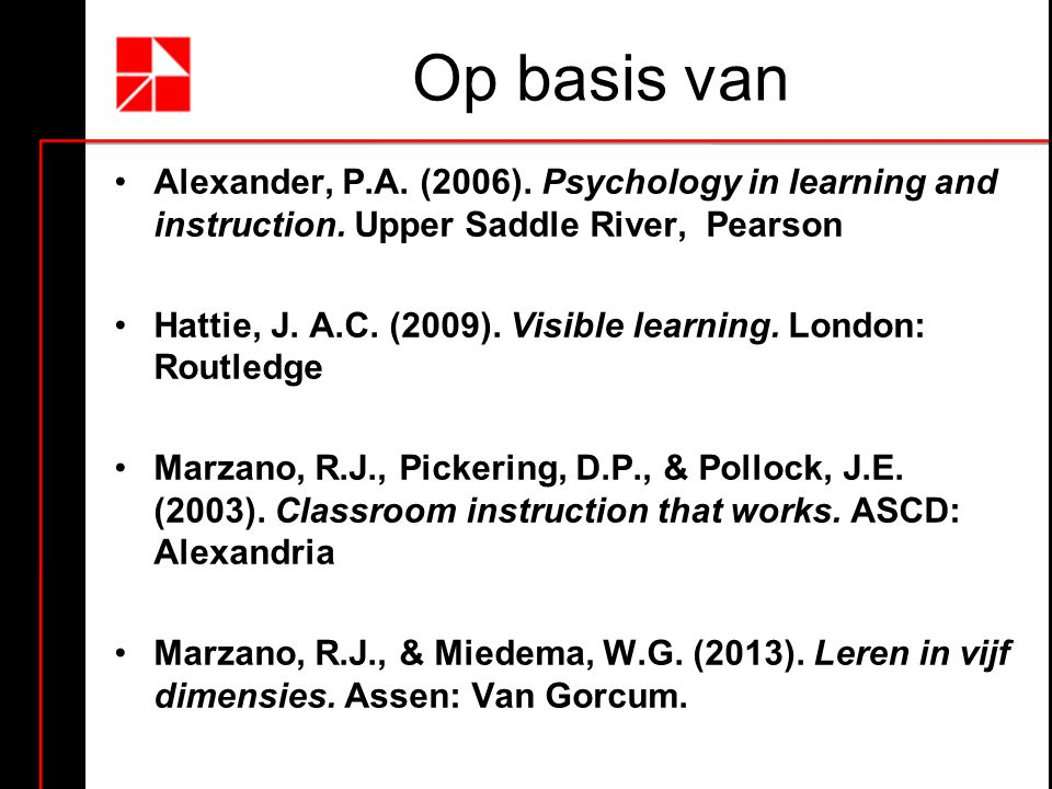 Op basis van Alexander, P.A. (2006). Psychology in learning and instruction. Upper Saddle River, Pearson.