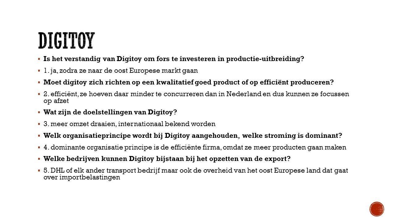 digitoy Is het verstandig van Digitoy om fors te investeren in productie-uitbreiding 1. ja, zodra ze naar de oost Europese markt gaan.
